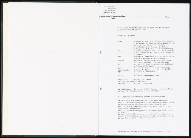 Raadsverslagen van de gemeente Leeuwarden, 1865-2007 (Notulen) 2007