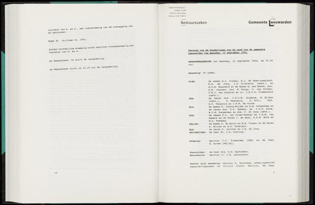 Raadsverslagen van de gemeente Leeuwarden, 1865-2007 (Notulen) 1994-09-12