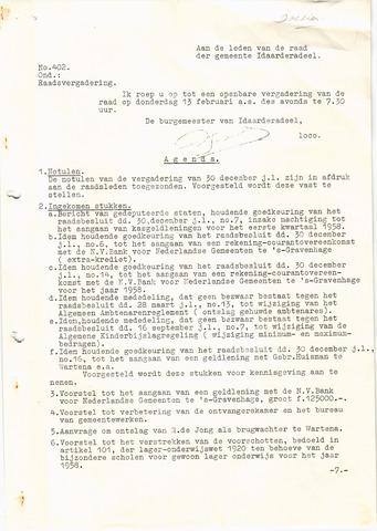 raadsverslagen Idaarderadeel 1935-1983 1958