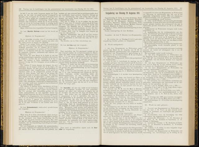 Raadsverslagen van de gemeente Leeuwarden, 1865-2007 (Notulen) 1911-08-22
