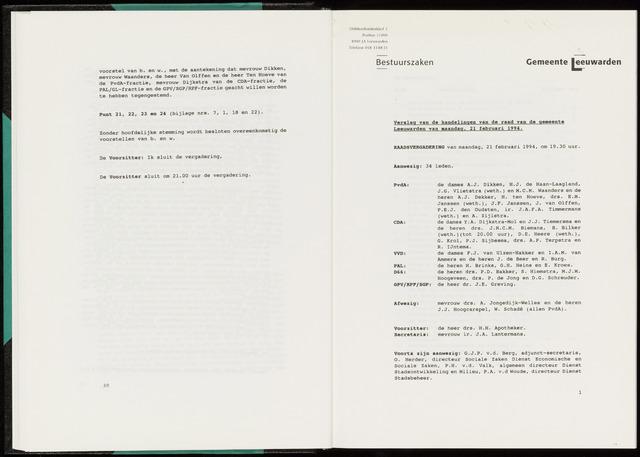 Raadsverslagen van de gemeente Leeuwarden, 1865-2007 (Notulen) 1994-02-21