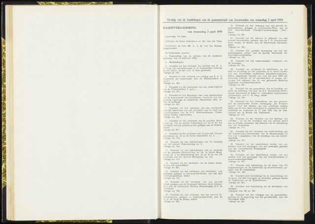 Raadsverslagen van de gemeente Leeuwarden, 1865-2007 (Notulen) 1958-04-02