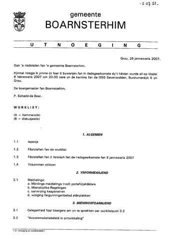 Boarnsterhim vergaderstukken gemeenteraad  2007-02-06