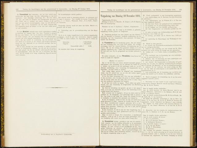 Raadsverslagen van de gemeente Leeuwarden, 1865-2007 (Notulen) 1891-11-10