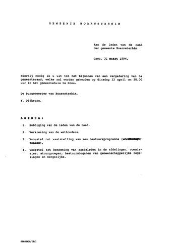 Boarnsterhim vergaderstukken gemeenteraad  1994-04-12