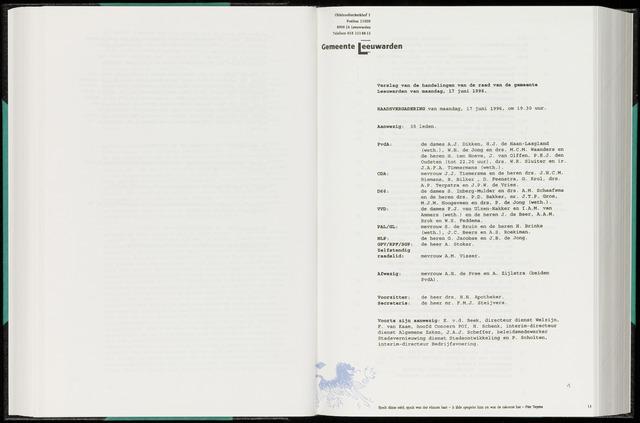 Raadsverslagen van de gemeente Leeuwarden, 1865-2007 (Notulen) 1996-06-17