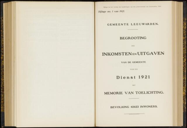 Raadsverslagen van de gemeente Leeuwarden, 1865-2007 (Bijlagen) 1921-01-01