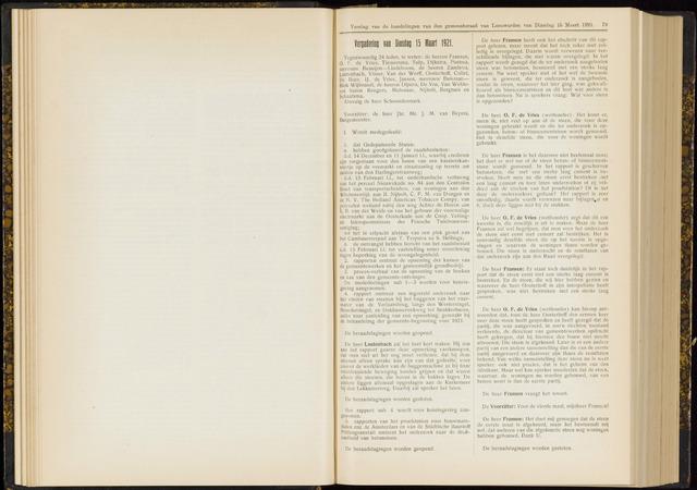 Raadsverslagen van de gemeente Leeuwarden, 1865-2007 (Notulen) 1921-03-15