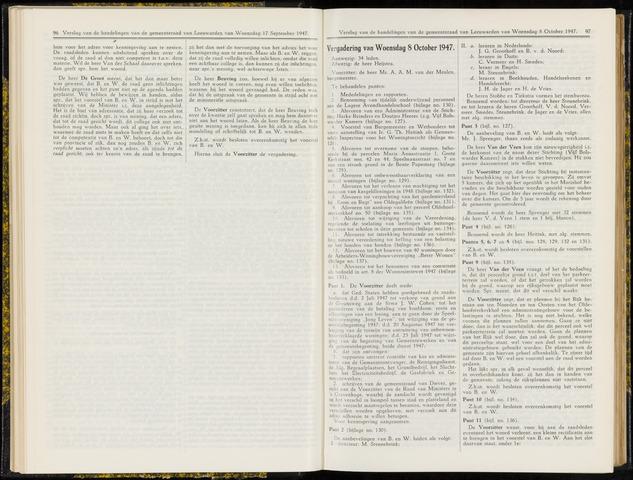 Raadsverslagen van de gemeente Leeuwarden, 1865-2007 (Notulen) 1947-10-08
