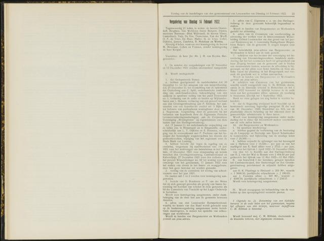 Raadsverslagen van de gemeente Leeuwarden, 1865-2007 (Notulen) 1922-02-14