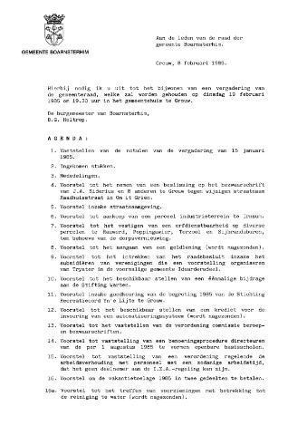 Boarnsterhim vergaderstukken gemeenteraad  1985-02-19