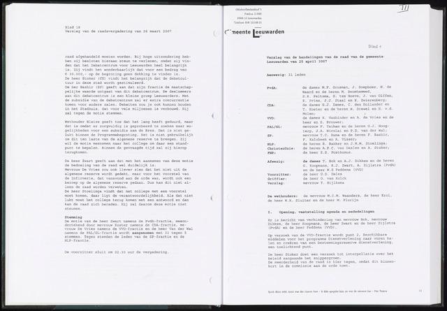 Raadsverslagen van de gemeente Leeuwarden, 1865-2007 (Notulen) 2007-04-25