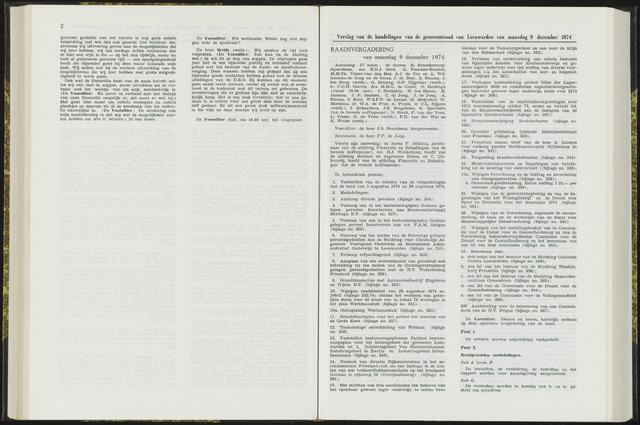 Raadsverslagen van de gemeente Leeuwarden, 1865-2007 (Notulen) 1974-12-09
