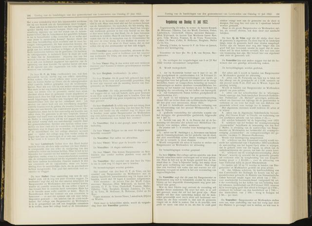Raadsverslagen van de gemeente Leeuwarden, 1865-2007 (Notulen) 1922-07-11