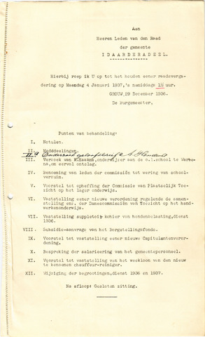 raadsverslagen Idaarderadeel 1935-1983 1937