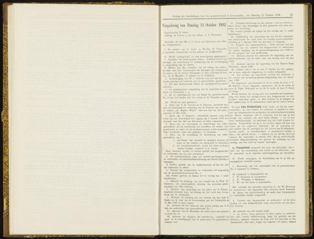 Raadsverslagen van de gemeente Leeuwarden, 1865-2007 (Notulen) 1892-10-11