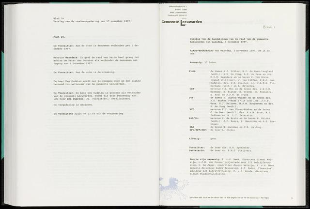 Raadsverslagen van de gemeente Leeuwarden, 1865-2007 (Notulen) 1997-11-03