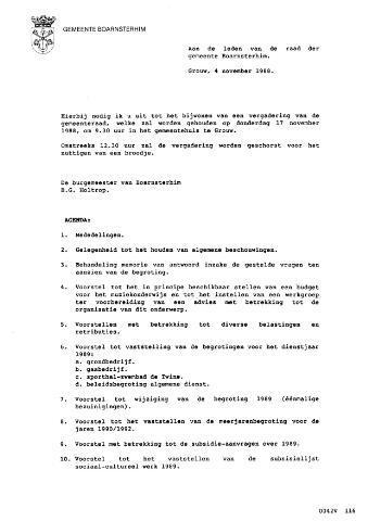 Boarnsterhim vergaderstukken gemeenteraad  1988-11-17
