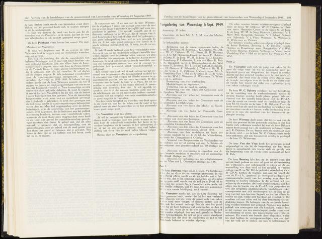 Raadsverslagen van de gemeente Leeuwarden, 1865-2007 (Notulen) 1949-09-06