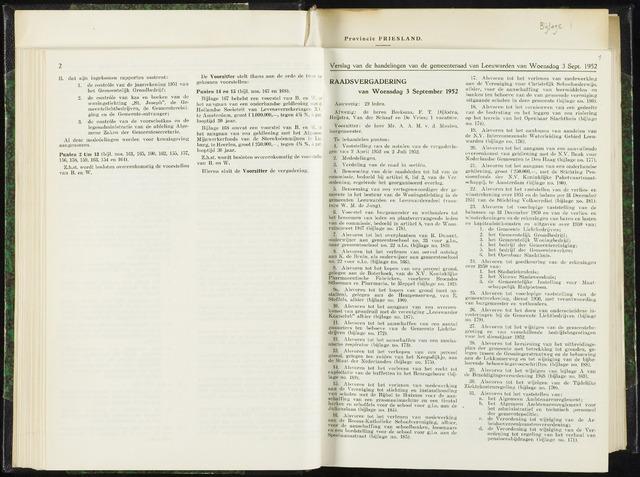 Raadsverslagen van de gemeente Leeuwarden, 1865-2007 (Notulen) 1952-09-03