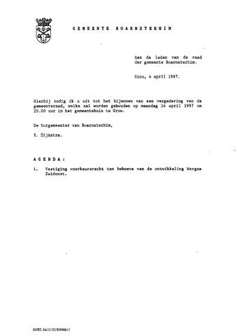 Boarnsterhim vergaderstukken gemeenteraad  1997-04-14
