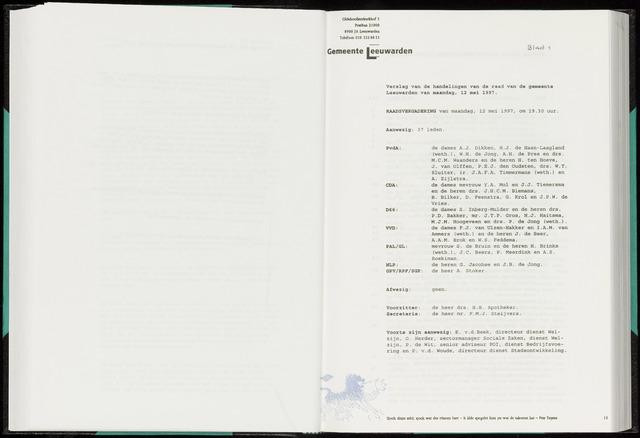 Raadsverslagen van de gemeente Leeuwarden, 1865-2007 (Notulen) 1997-05-12