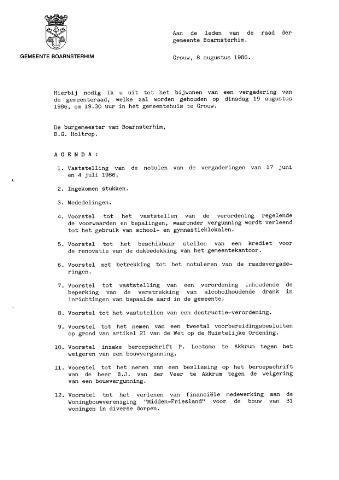Boarnsterhim vergaderstukken gemeenteraad  1986-08-19