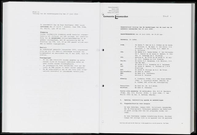 Raadsverslagen van de gemeente Leeuwarden, 1865-2007 (Notulen) 2005-07-18