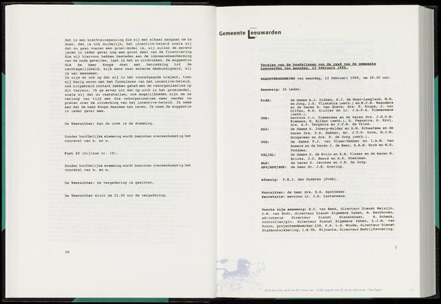 Raadsverslagen van de gemeente Leeuwarden, 1865-2007 (Notulen) 1995-02-13