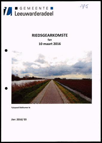 Notulen van de gemeenteraad van Leeuwarderadeel 2016-03-10