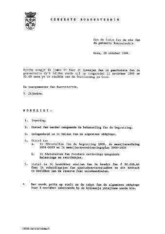 Boarnsterhim vergaderstukken gemeenteraad  1999-11-11