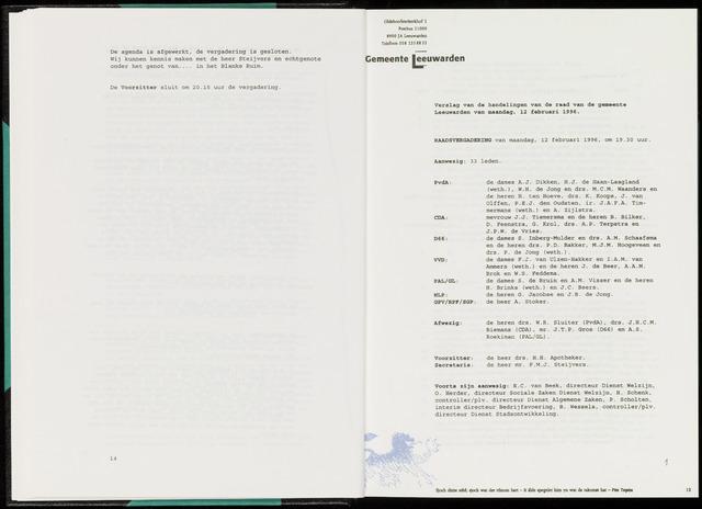Raadsverslagen van de gemeente Leeuwarden, 1865-2007 (Notulen) 1996-02-12