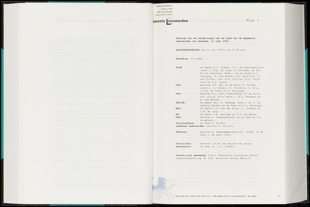 Raadsverslagen van de gemeente Leeuwarden, 1865-2007 (Notulen) 2001-06-11