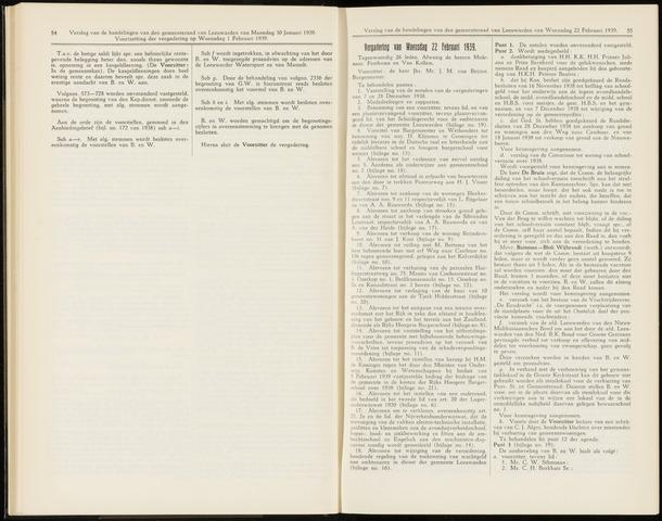 Raadsverslagen van de gemeente Leeuwarden, 1865-2007 (Notulen) 1939-02-22