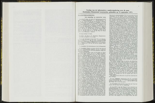 Raadsverslagen van de gemeente Leeuwarden, 1865-2007 (Notulen) 1973-09-24
