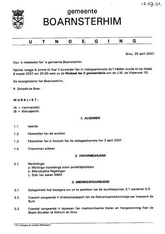 Boarnsterhim vergaderstukken gemeenteraad  2007-05-09
