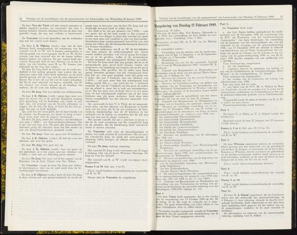 Raadsverslagen van de gemeente Leeuwarden, 1865-2007 (Notulen) 1949-02-15
