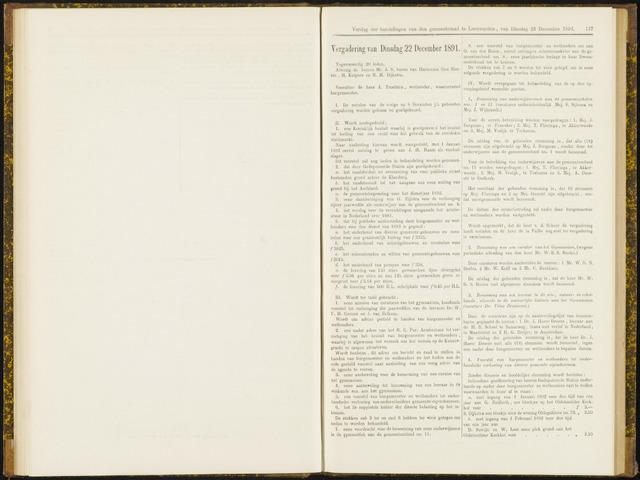 Raadsverslagen van de gemeente Leeuwarden, 1865-2007 (Notulen) 1891-12-22