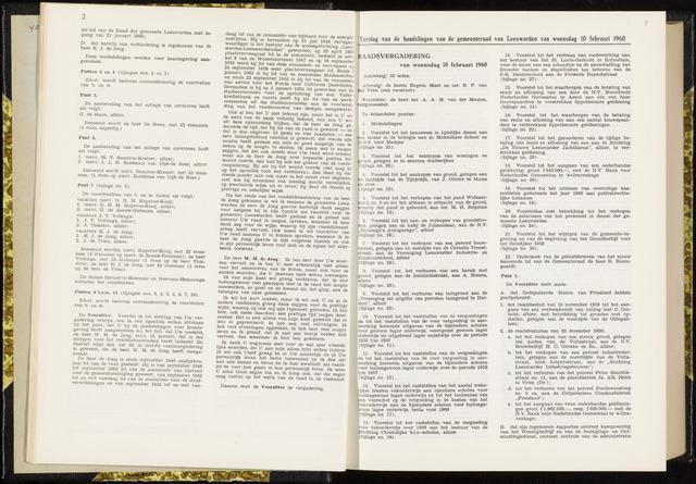 Raadsverslagen van de gemeente Leeuwarden, 1865-2007 (Notulen) 1960-02-10