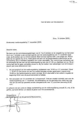 Boarnsterhim vergaderstukken gemeenteraad  2003-11-11