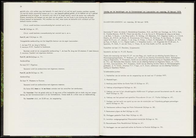 Raadsverslagen van de gemeente Leeuwarden, 1865-2007 (Notulen) 1978-02-20