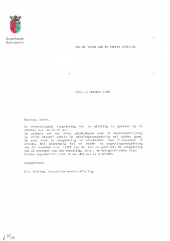 Boarnsterhim vergaderstukken gemeenteraad  1989-11-08
