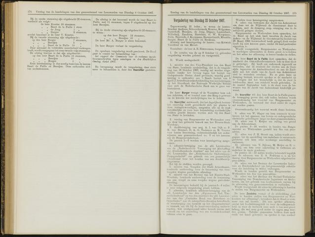 Raadsverslagen van de gemeente Leeuwarden, 1865-2007 (Notulen) 1907-10-22