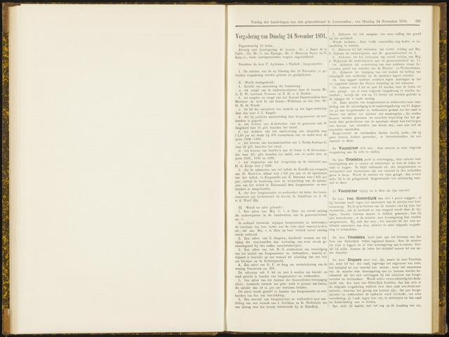 Raadsverslagen van de gemeente Leeuwarden, 1865-2007 (Notulen) 1891-11-24