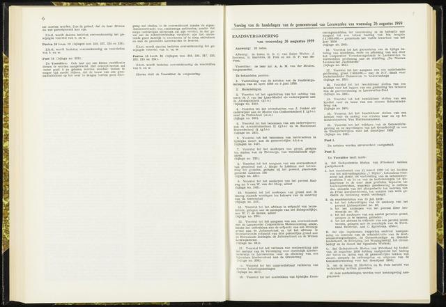 Raadsverslagen van de gemeente Leeuwarden, 1865-2007 (Notulen) 1959-08-26