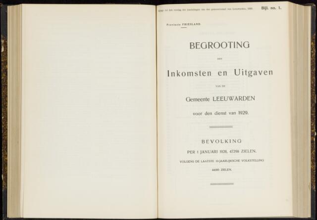 Raadsverslagen van de gemeente Leeuwarden, 1865-2007 (Bijlagen) 1929-01-01