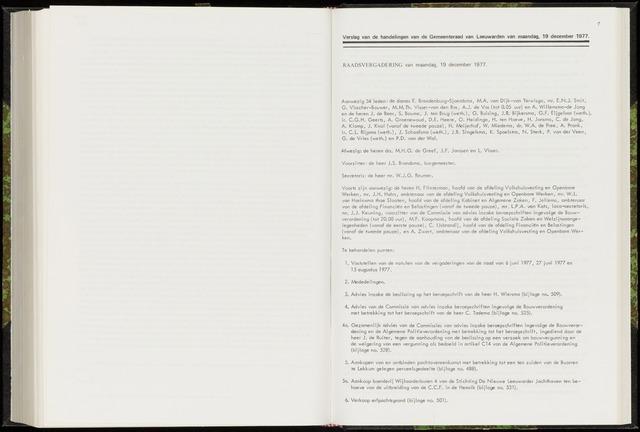 Raadsverslagen van de gemeente Leeuwarden, 1865-2007 (Notulen) 1977-12-19