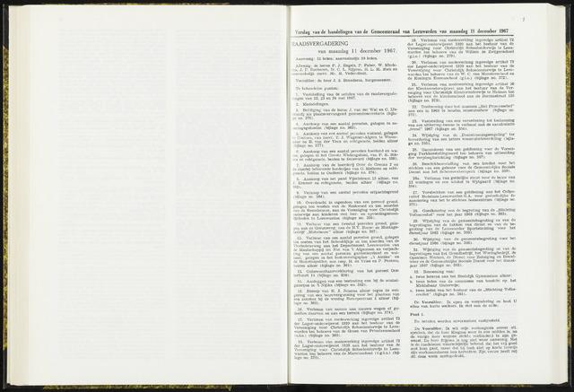 Raadsverslagen van de gemeente Leeuwarden, 1865-2007 (Notulen) 1967-12-11