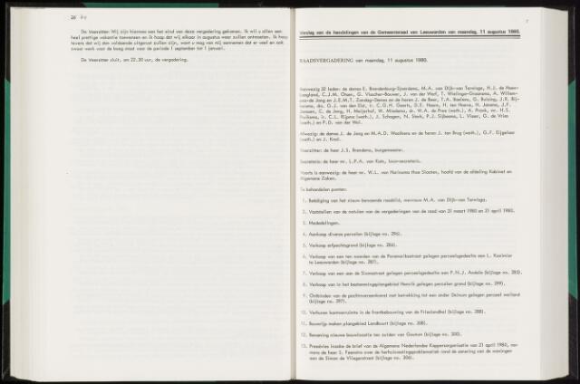 Raadsverslagen van de gemeente Leeuwarden, 1865-2007 (Notulen) 1980-08-11