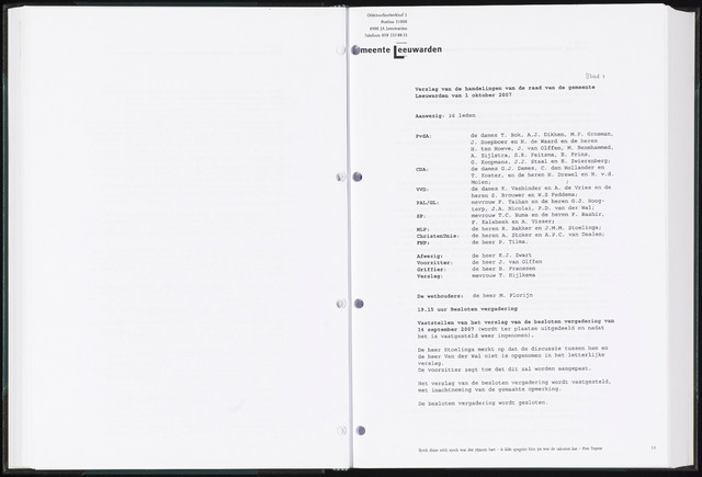 Raadsverslagen van de gemeente Leeuwarden, 1865-2007 (Notulen) 2007-10-01